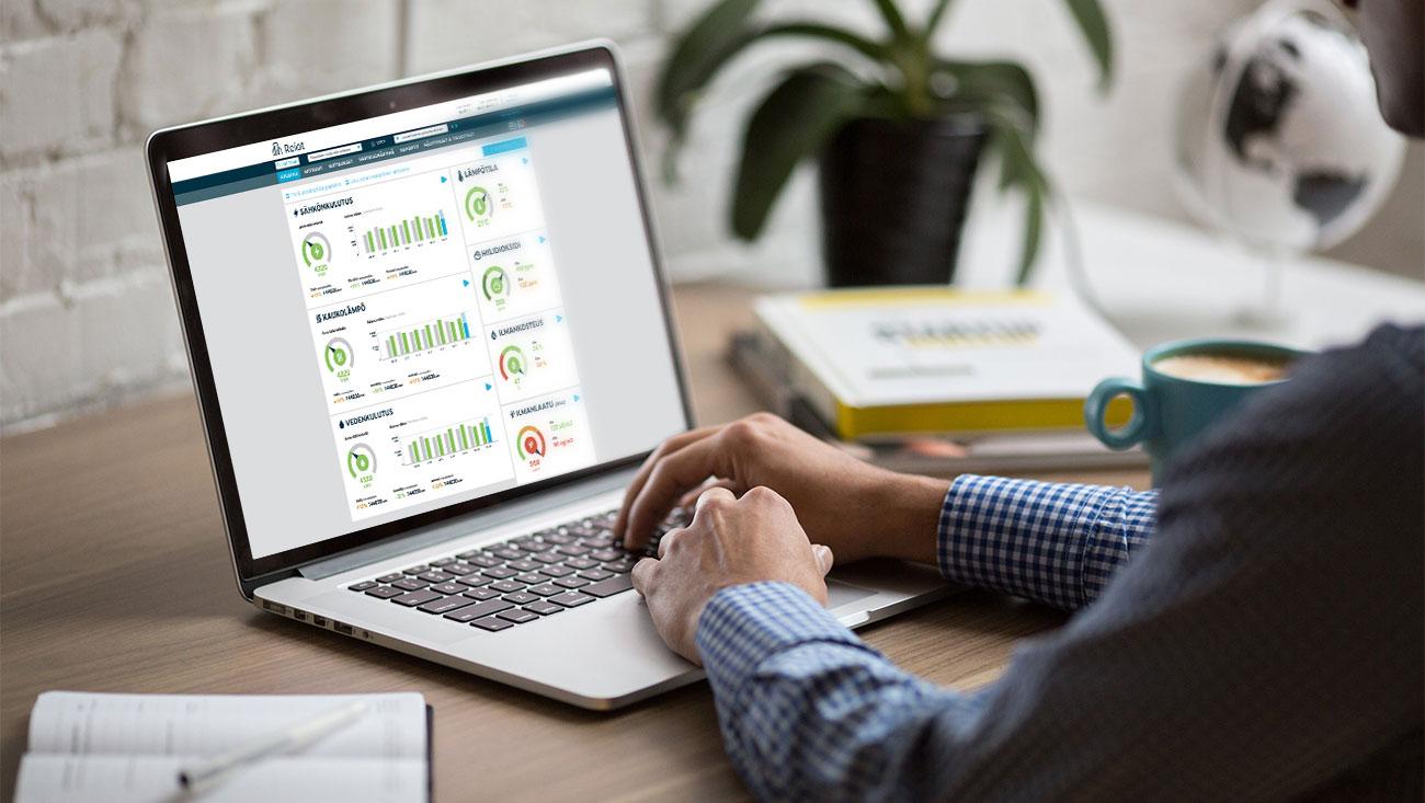 Reiot-kiinteistönhallintajärjestelmässä on moderni käyttöliittymä, josta datan lukeminen ja ymmärtäminen on yksinkertaista myös ei-asiantuntijoille
